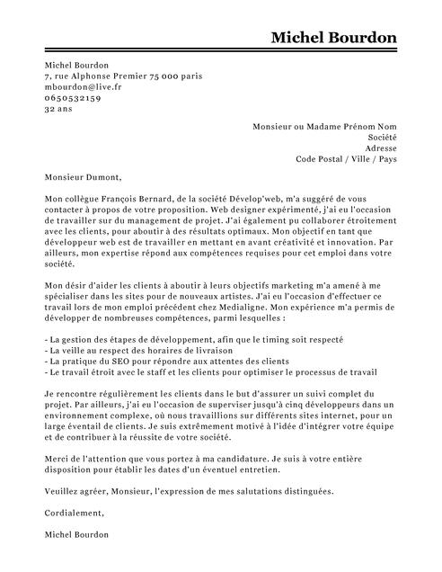 lettre de motivation formation developpeur informatique