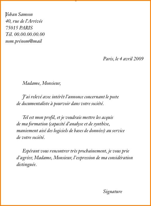Exemple de lettre de motivation pour une demande d emploi ...