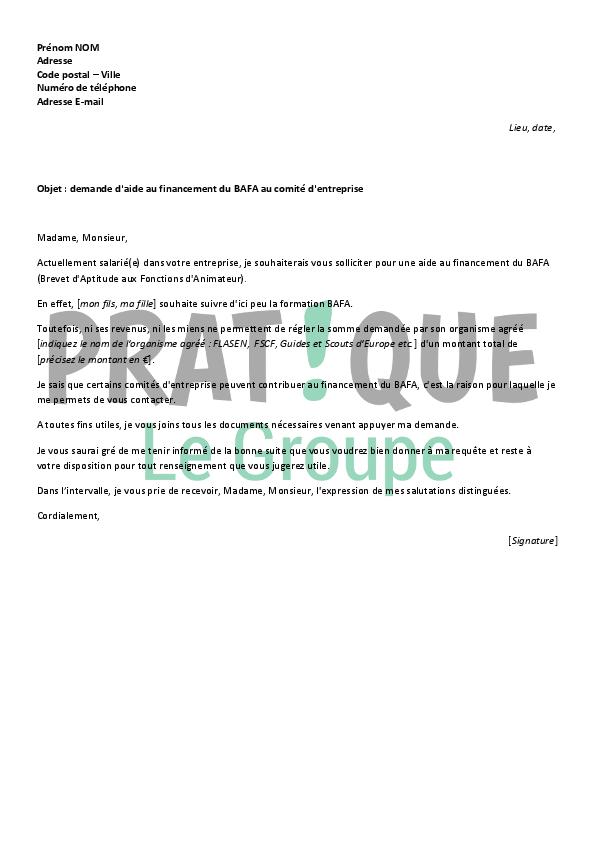 lettre de motivation pour demande de subvention pour une