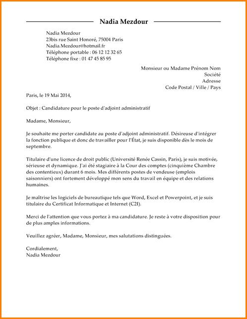 lettre de motivation gestionnaire administratif et