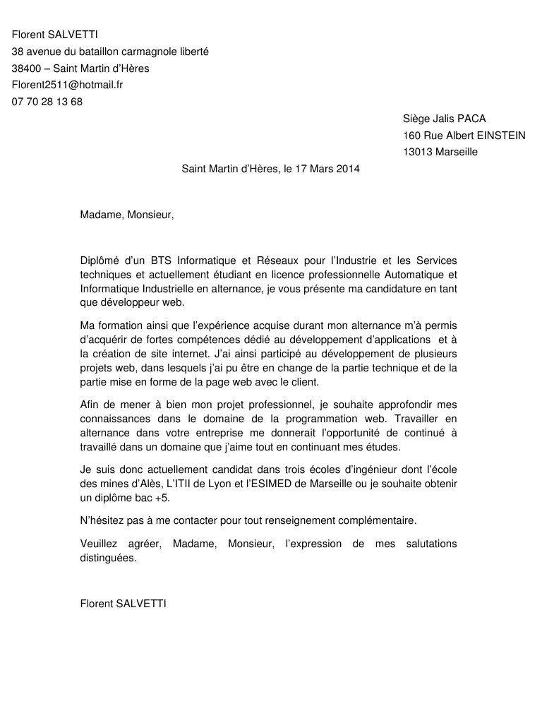 lettre de motivation pour une formation informatique