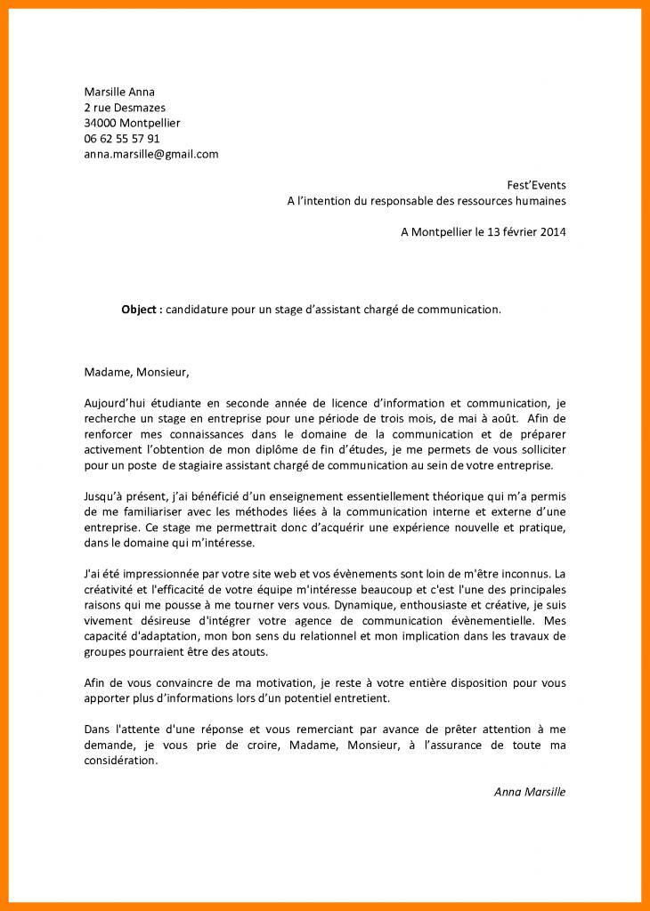lettre de motivation assistant marketing stage