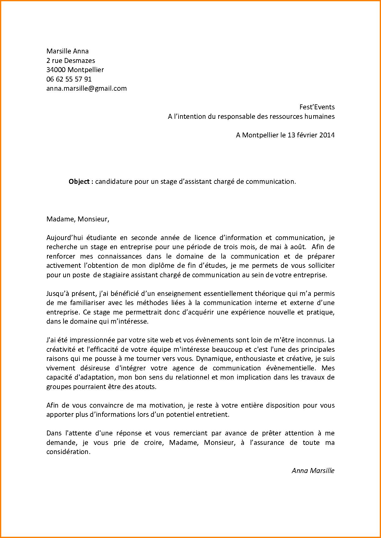 Exemple de lettre de motivation pour un poste en interne