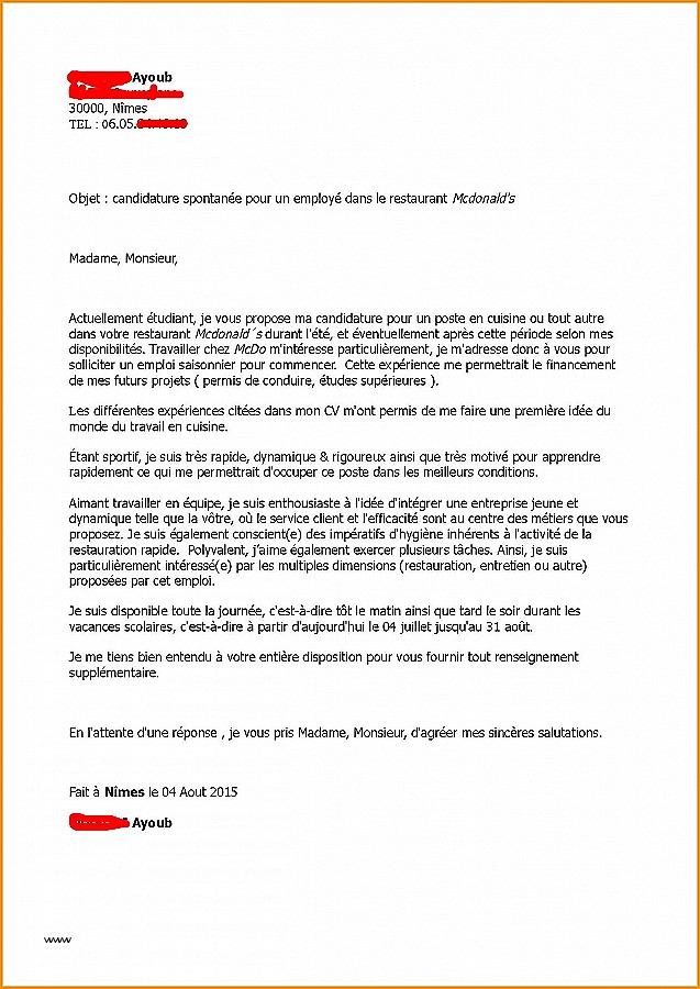 exemple de lettre de motivation pour employ u00e9 de rayon