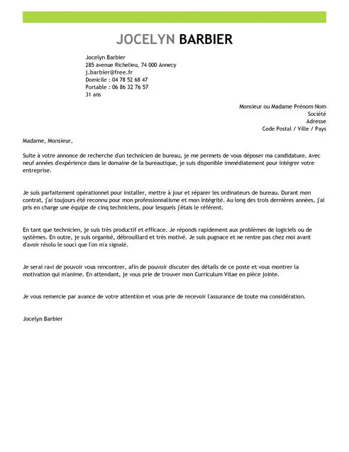 lettre de motivation pour technicien de laboratoire