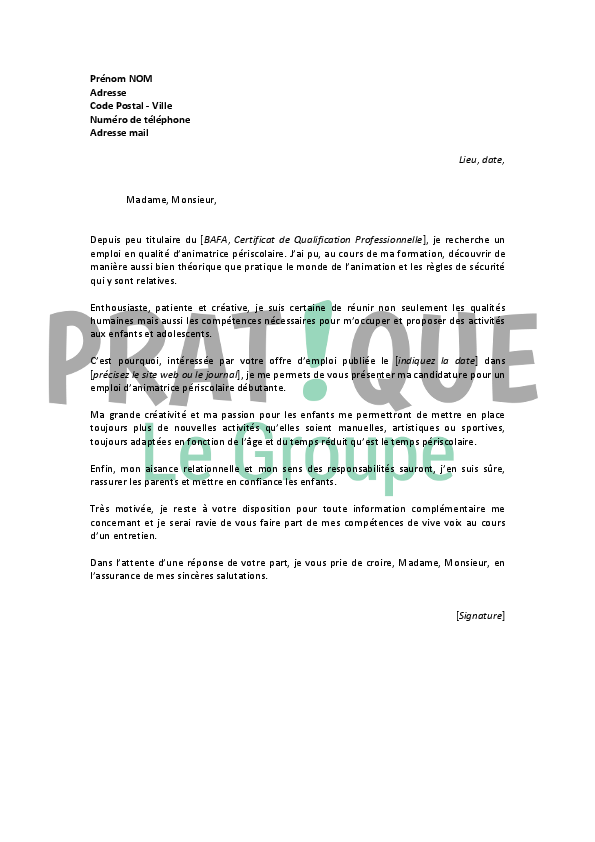 bafa lettre de motivation stage pratique