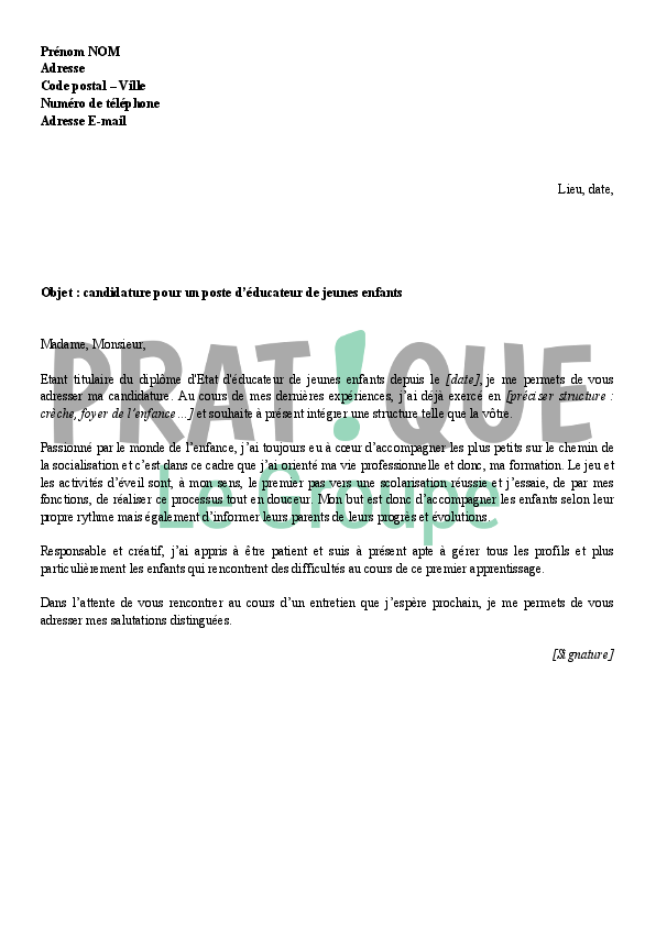 lettre de motivation enfant handicap u00e9