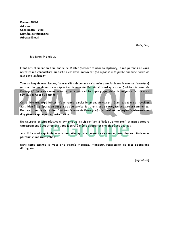 lettre de motivation candidature spontan u00e9e employ u00e9