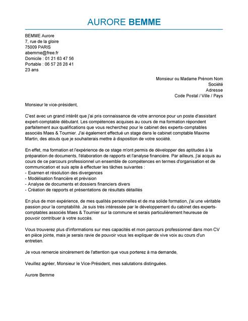 lettre de motivation candidature spontan u00e9e aide comptable