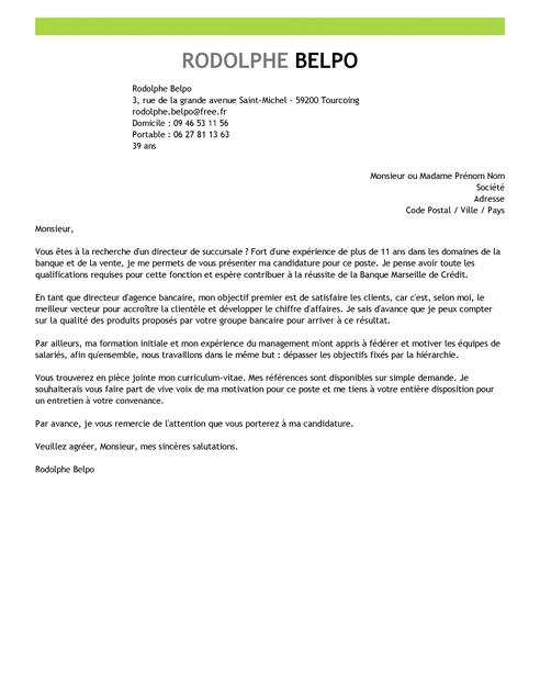 exemple lettre de motivation directeur commercial