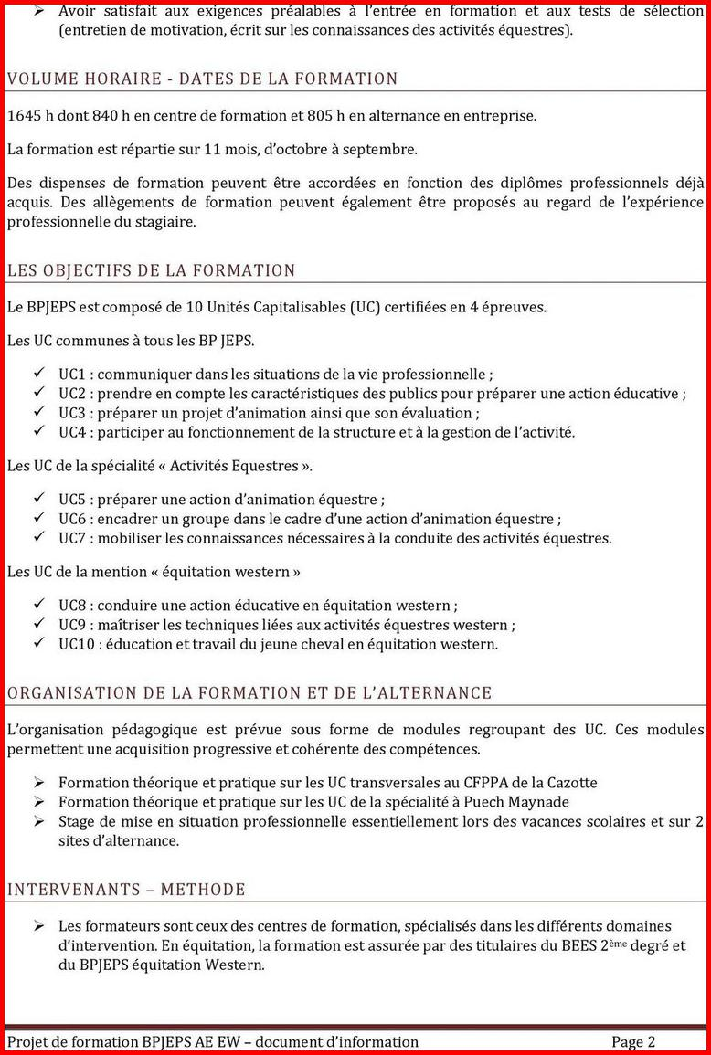lettre de motivation bpjeps equitation