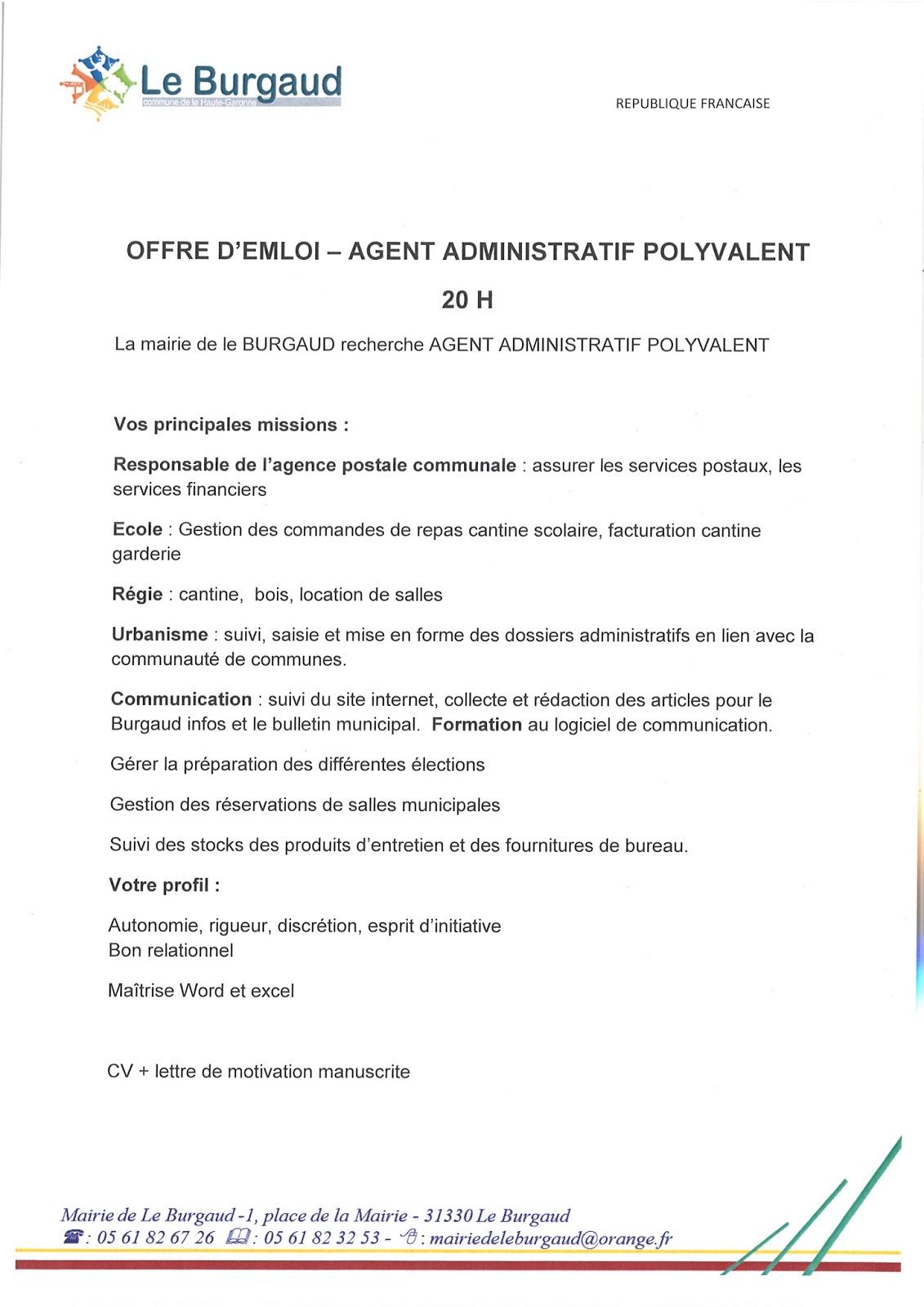 lettre de motivation pour mairie agent administratif