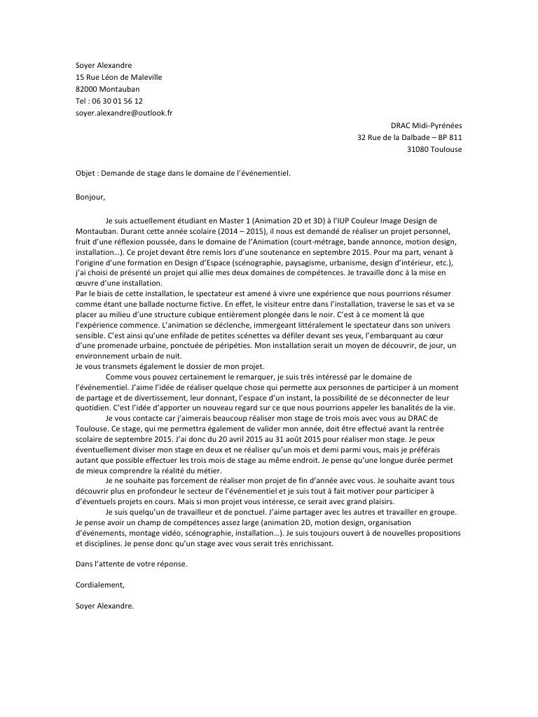lettre de motivation pour ecole d u0026 39 animation 3d