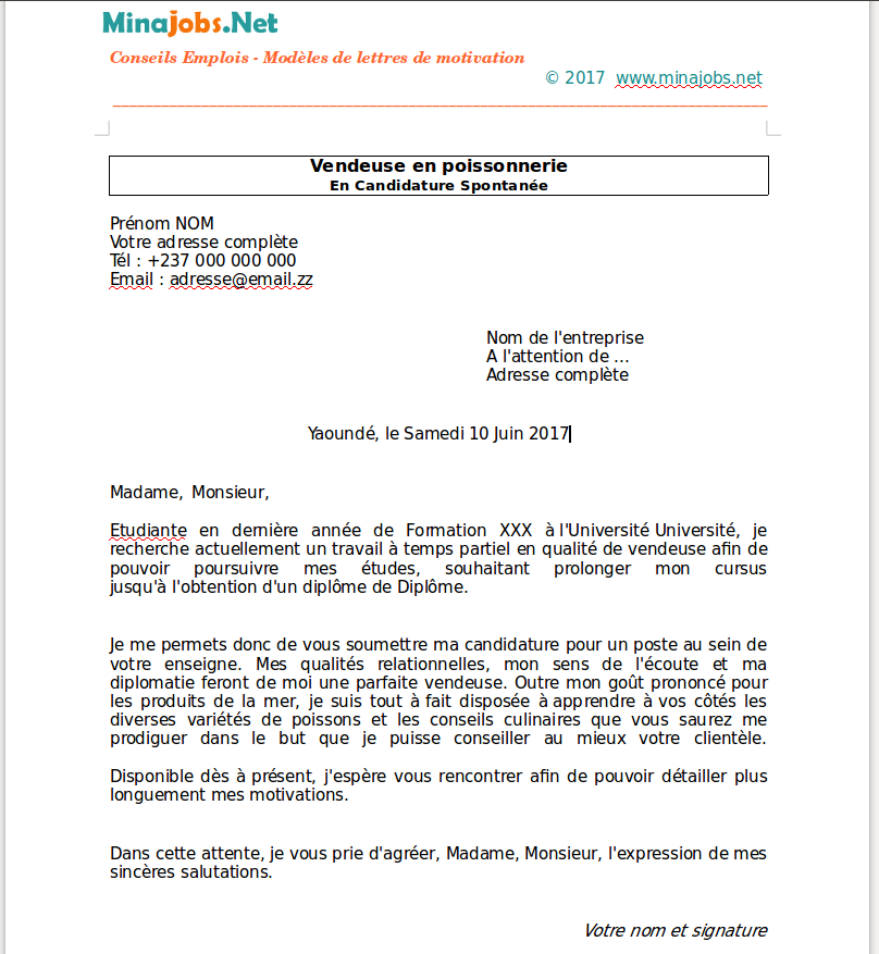 lettre de motivation candidature spontan u00e9e patissier
