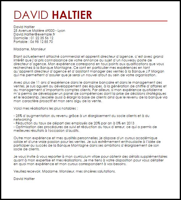 lettre de motivation responsable agence