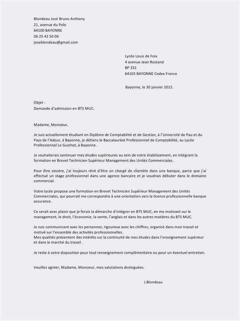 lettre de motivation bts management