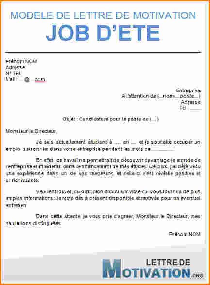 comment faire une lettre de motivation job d  u00e9t u00e9