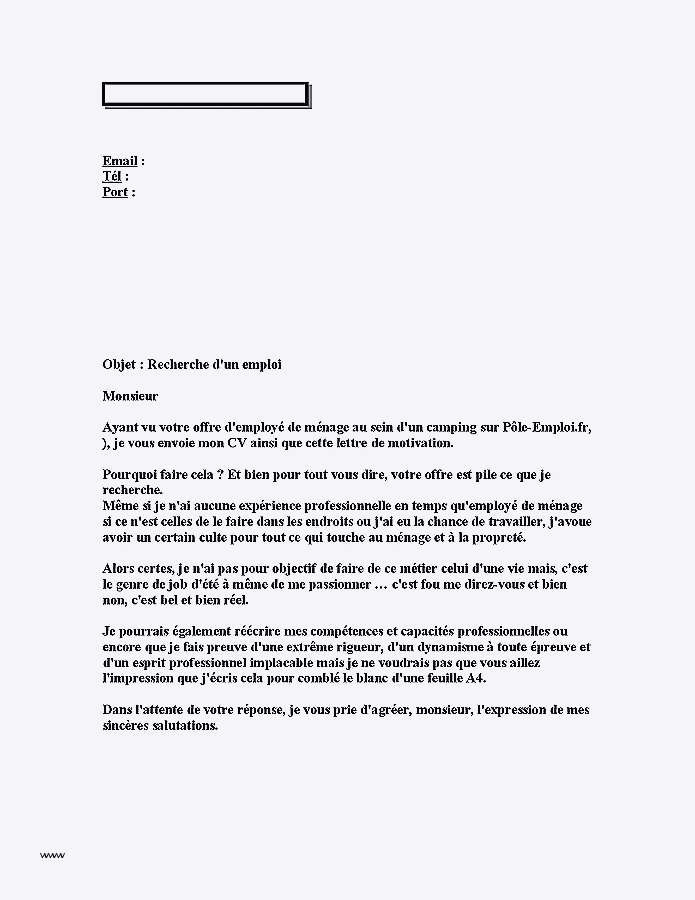 lettre de motivation femme de chambre hotel debutant