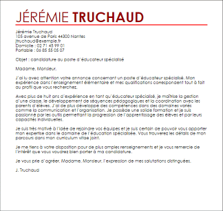 Lettre de motivation educateur sportif mairie