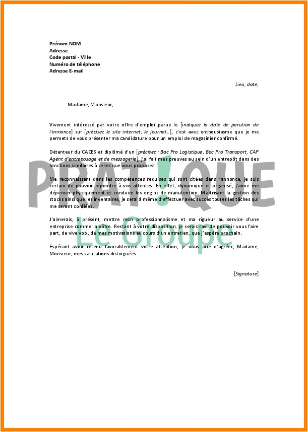 lettre de motivation stage cariste d entrepot