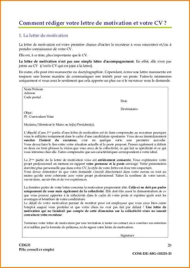 lettre de motivation pour l administration publique