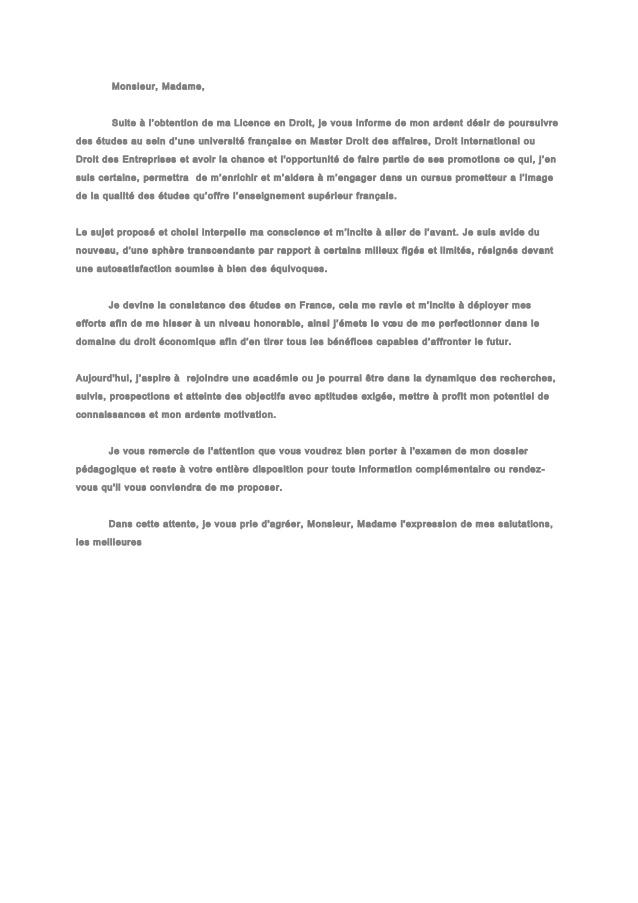 Lettre de motivation licence sciences humaines et sociales histoire