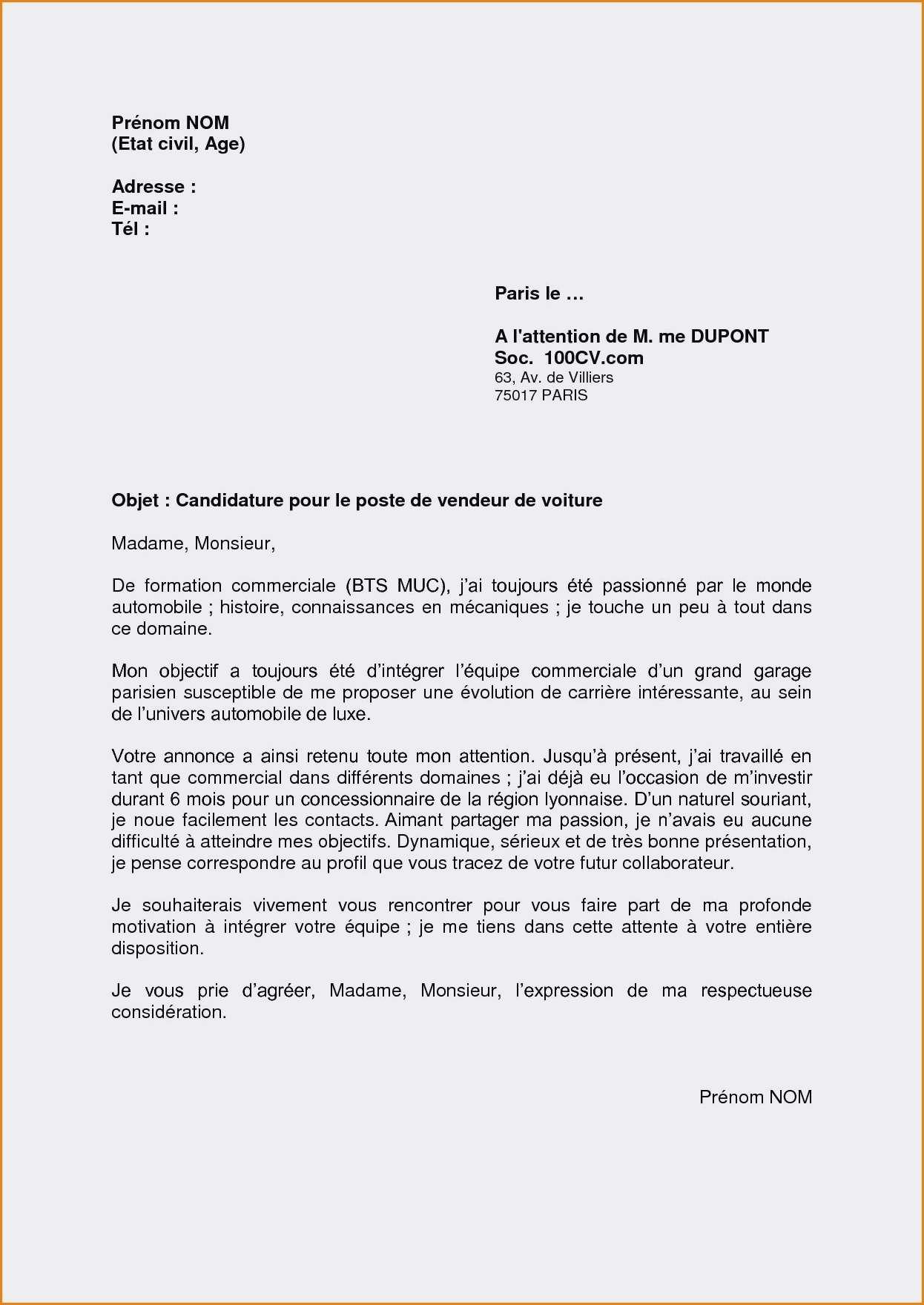 lettre de motivation formation vendeur