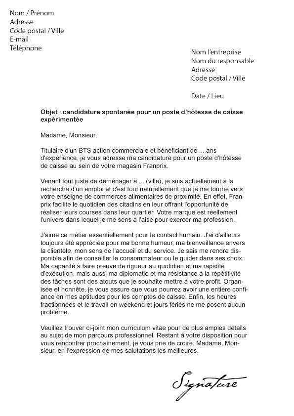 modele lettre de motivation hotesse de caisse candidature