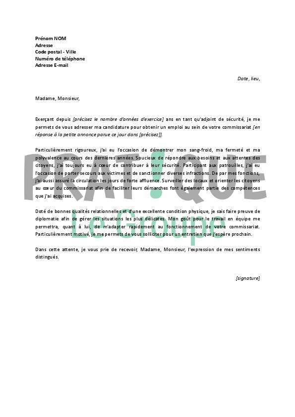 Lettre de motivation pour la police nationale ads