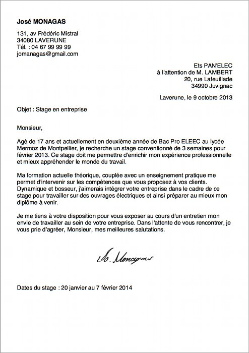 Exemple de lettre de motivation pour stage pdf