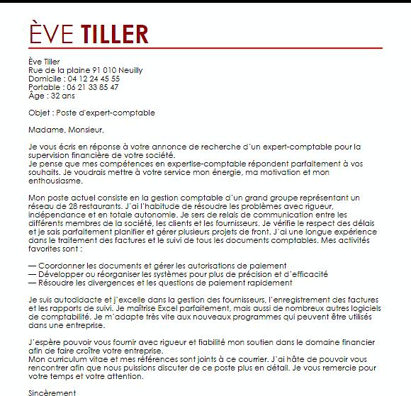 lettre de motivation comptable gestionnaire