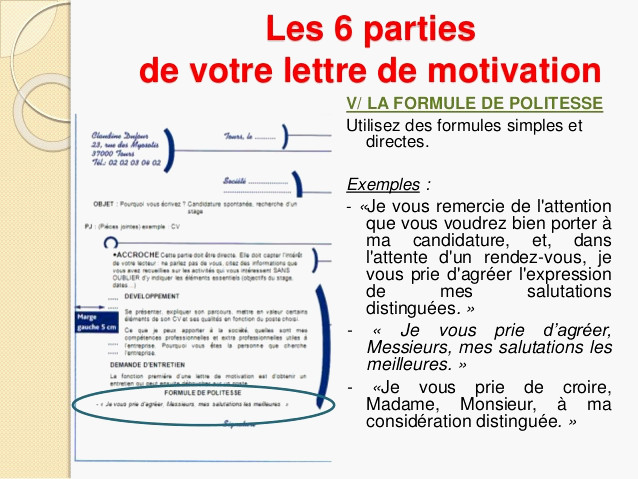 lettre motivation formule de politesse