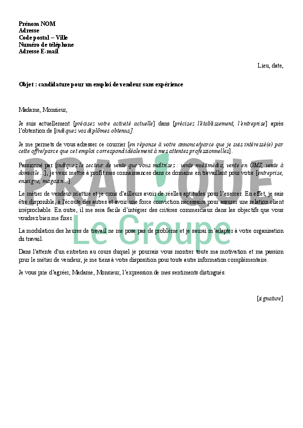 lettre de motivation vendeuse textile debutant
