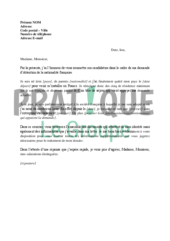 lettre de motivation naturalisation  u00e9tudiant