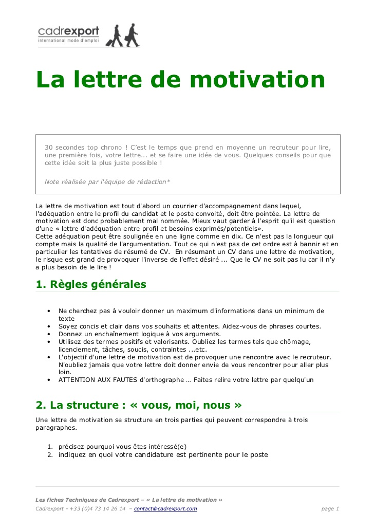 Lettre de motivation chef de groupe
