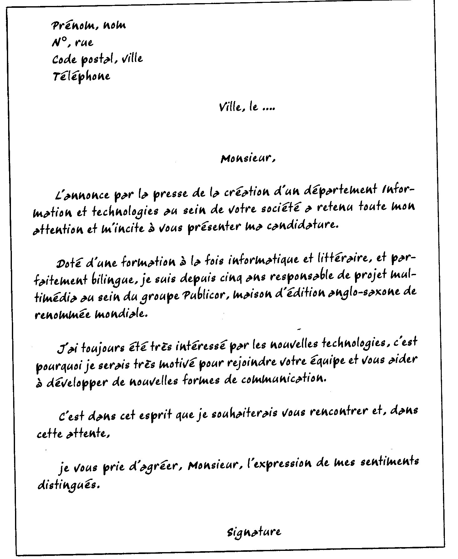 lettre de motivation anglais exemple gratuit