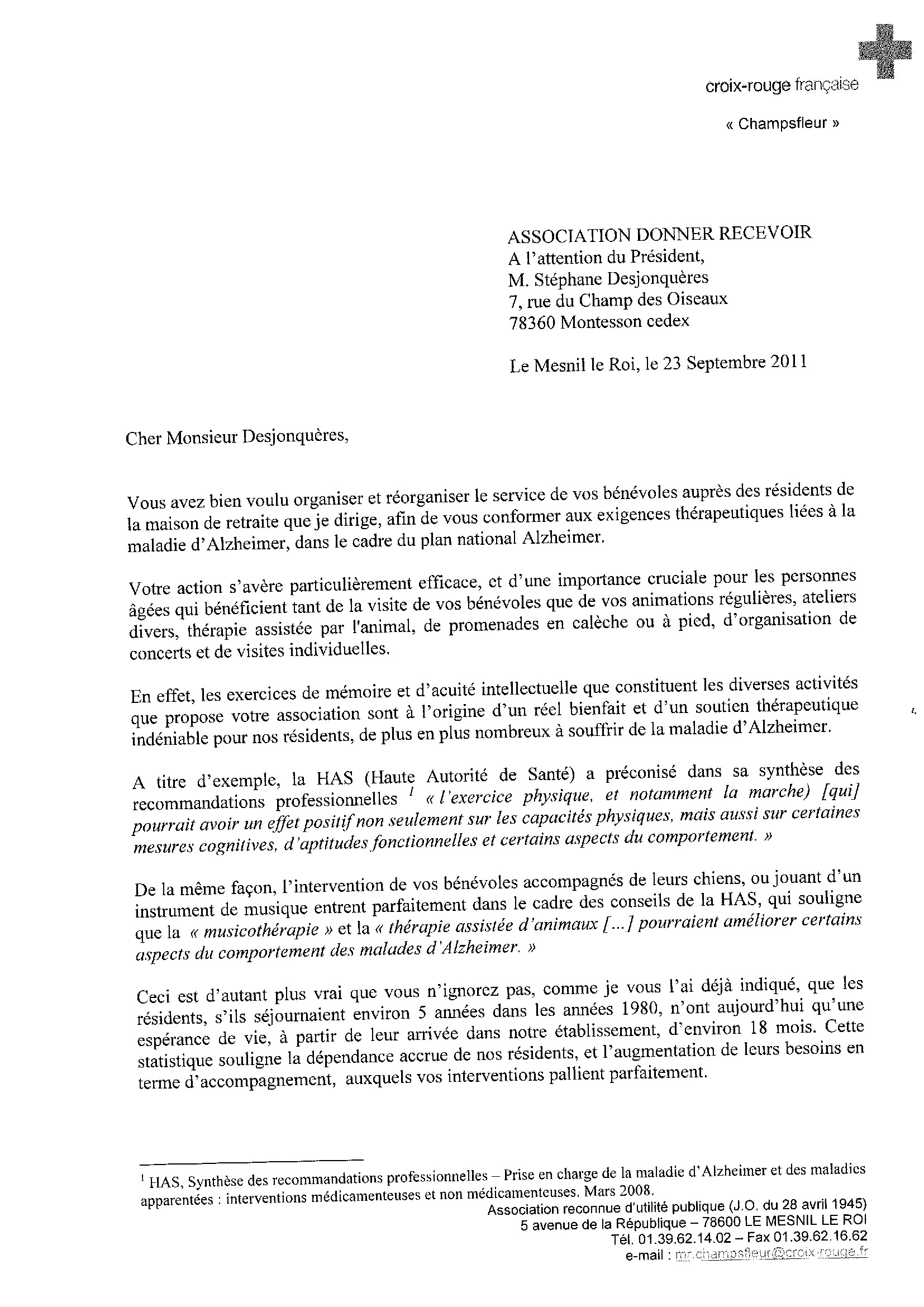 lettre de motivation association caritative