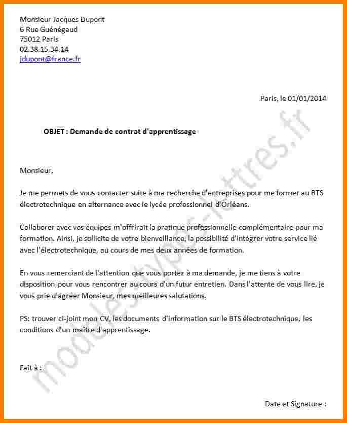 lettre de motivation contrat d u0026 39 apprentissage bac pro