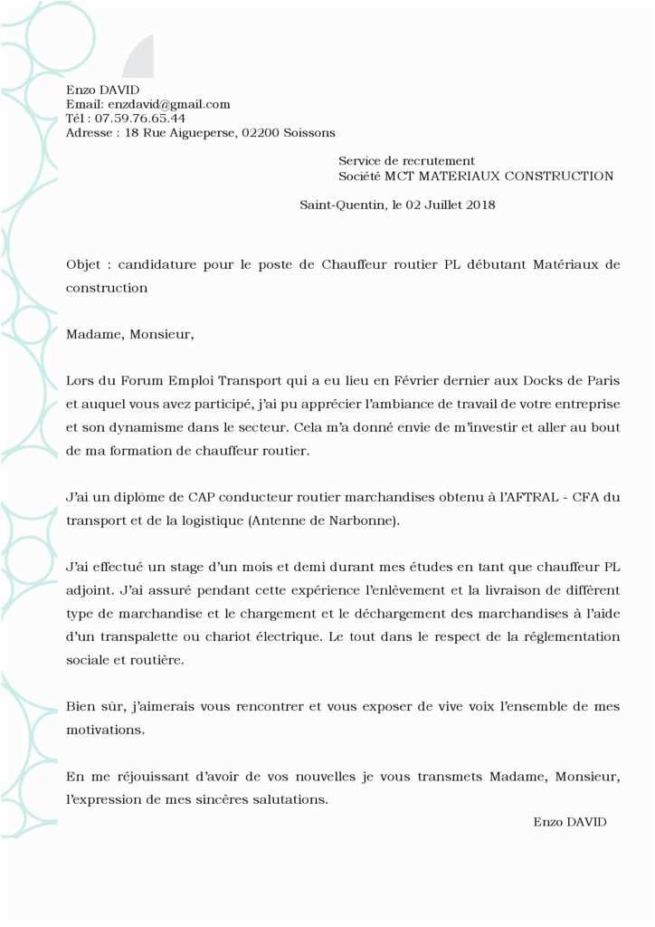 lettre de motivation bac pro commerce alternance