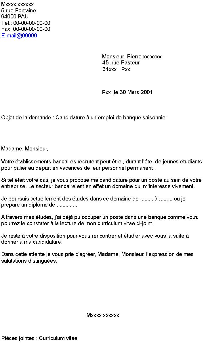 lettre de motivation recherche d u0026 39 emploi saisonnier