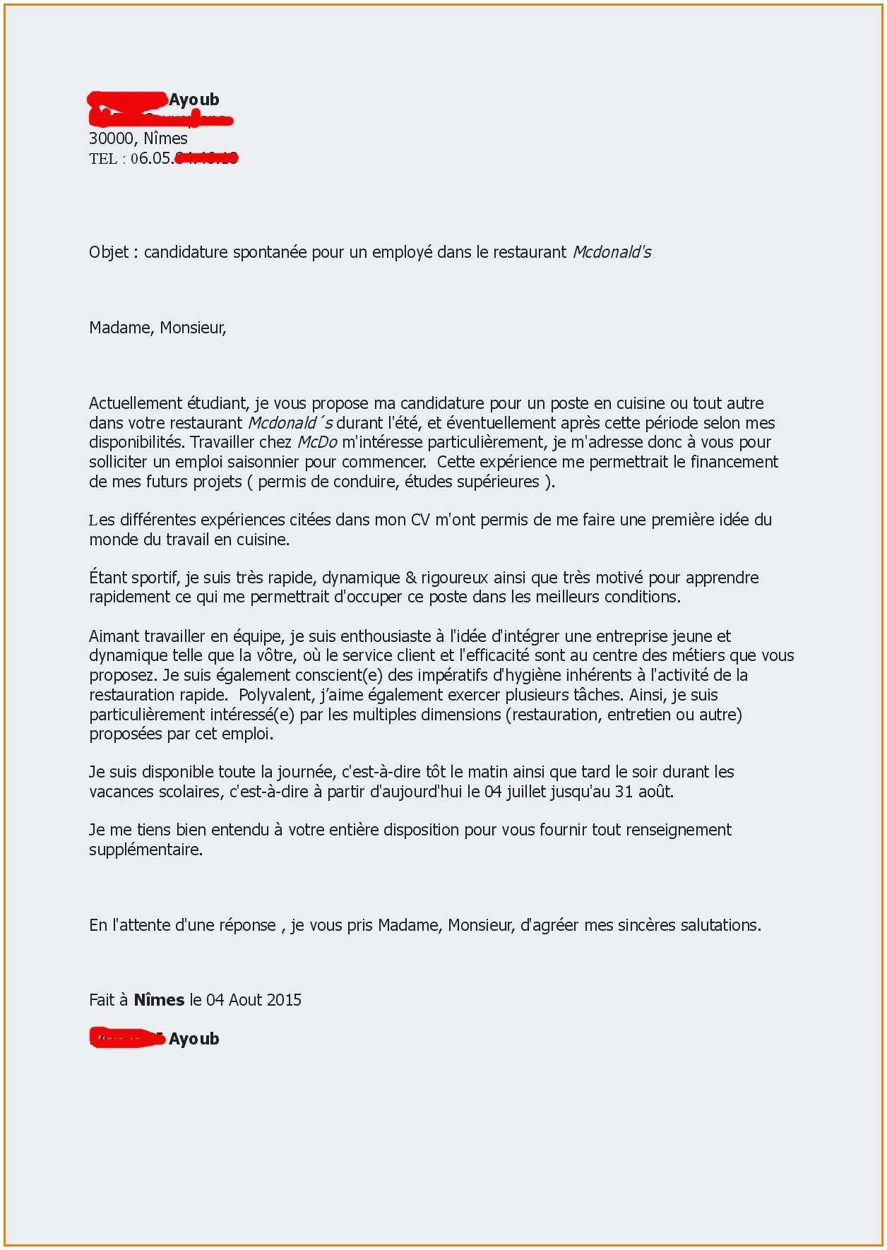 lettre de motivation saisonnier leclerc