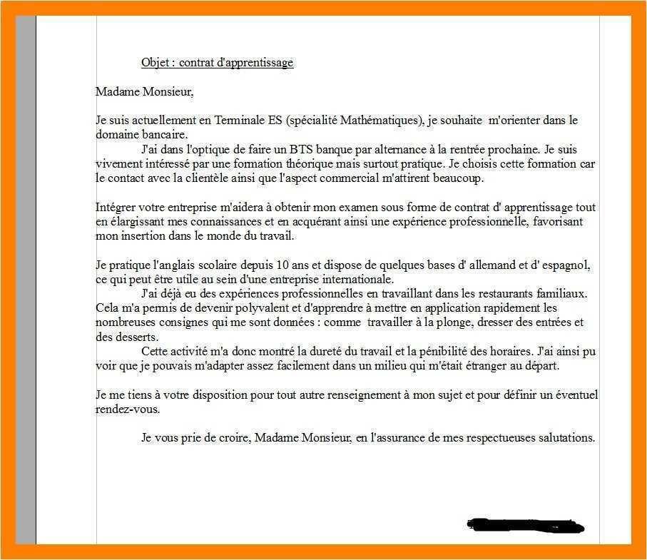 lettre de motivation pour un bts pi