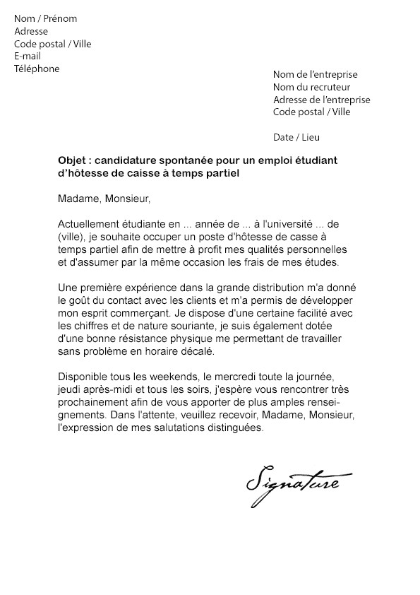 lettre de motivation job etudiant caissier