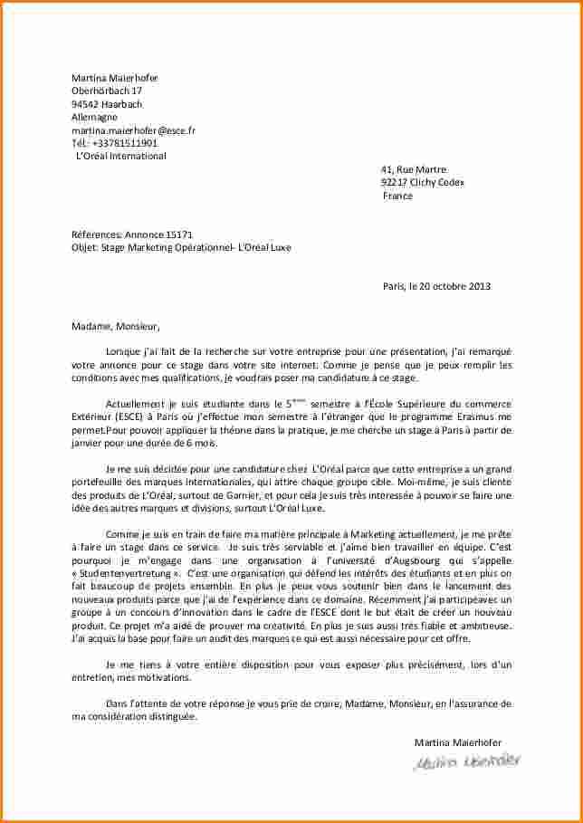Une lettre de motivation manuscrite ou dactylographiée