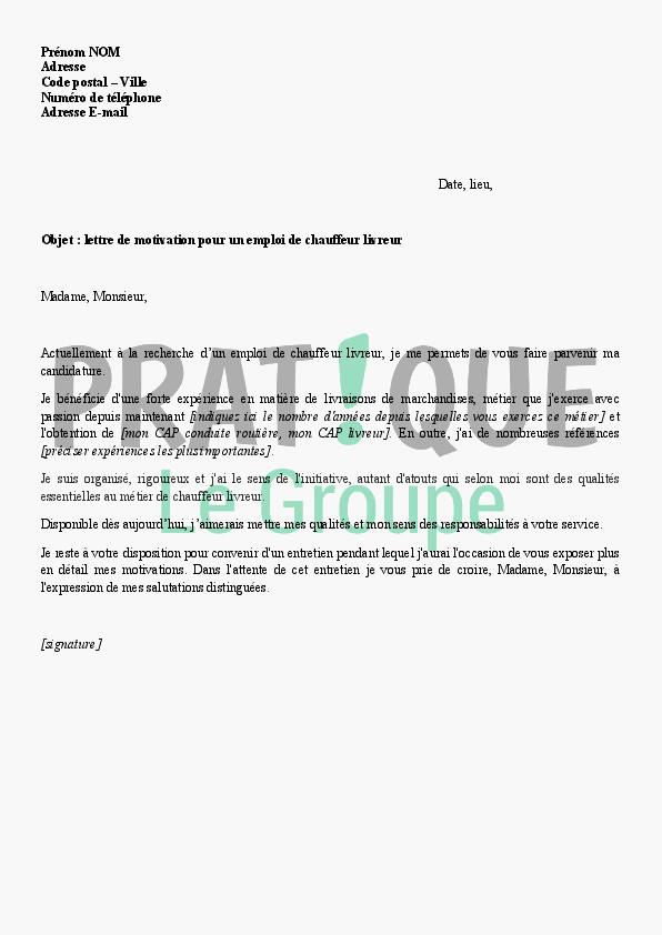 lettre de motivation pour chauffeur livreur d u00e9butant
