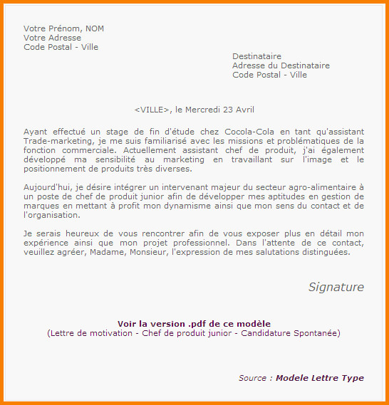 lettre de motivation assistant chef de produit d u00e9butant