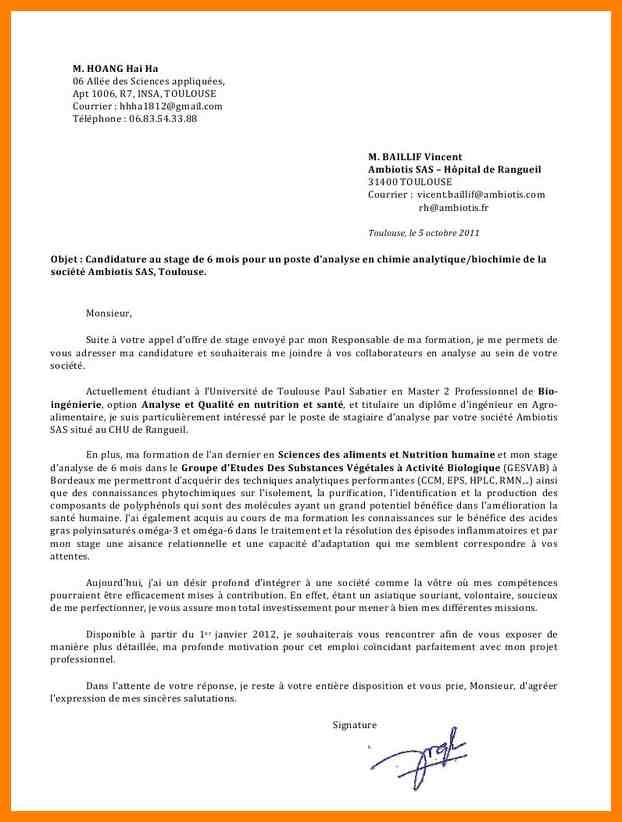 lettre de motivation stage chimie analytique