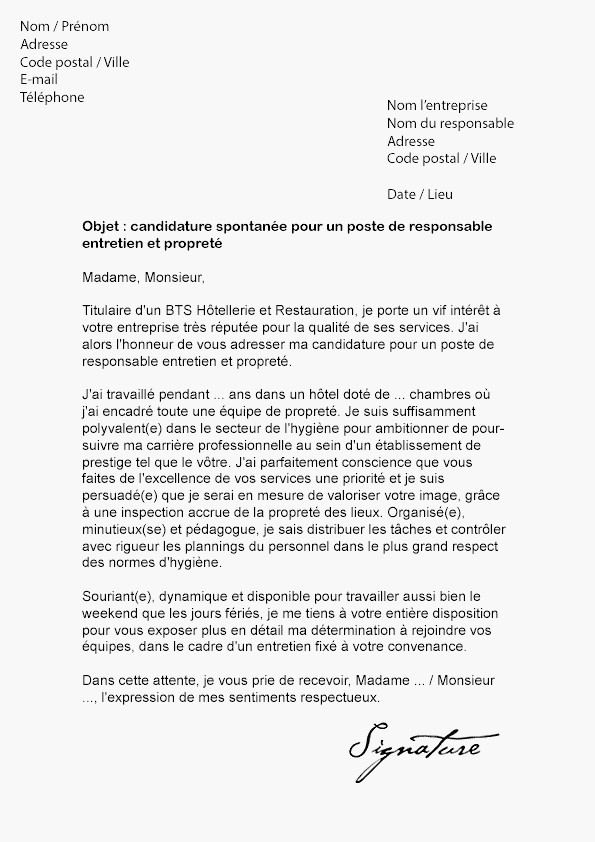 lettre de motivation candidature spontan u00e9e commerce