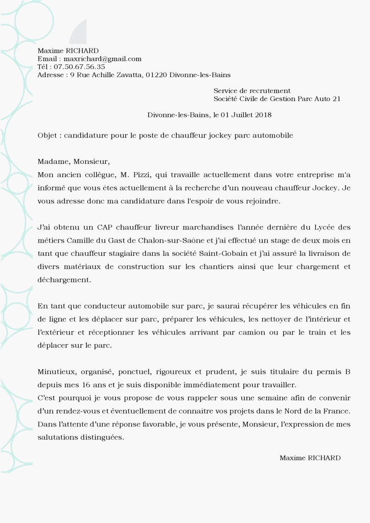 lettre de motivation conducteur de tramway d u00e9butant