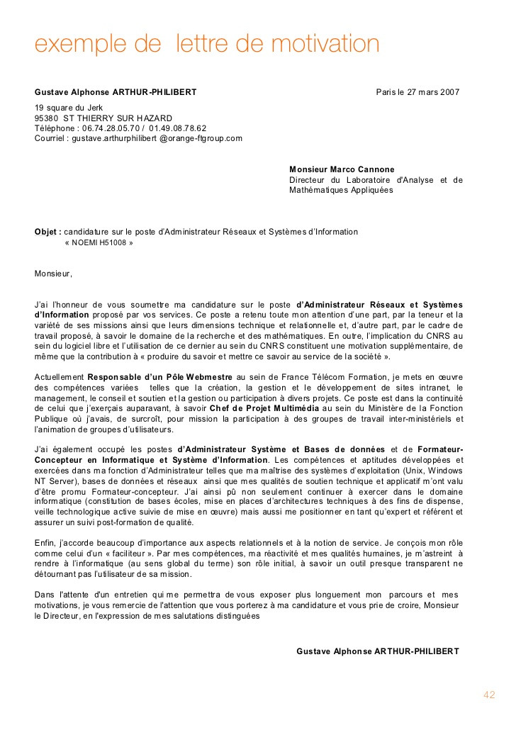 exemple de lettre de motivation pour un dut technique de